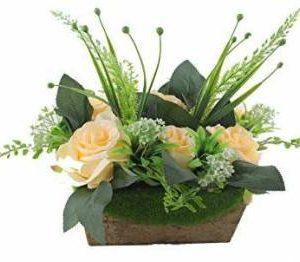Kronomus Rose Flower with Vase for Home Decor