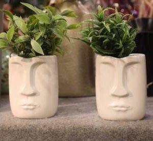 Kronomus White Ceramic Face Vase for Indoor